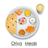 Plate full of delicious Oriya Meal Stock Photos