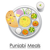 Plate full of delicious Punjabi Meal Royalty Free Stock Photography