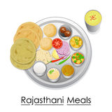 Plate full of delicious Rajasthani Meal Stock Photography