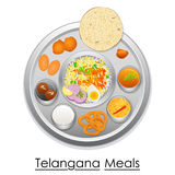 Plate full of delicious Telangana Meal Stock Images