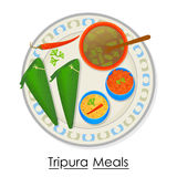 Plate full of delicious Tripura Meal Stock Images