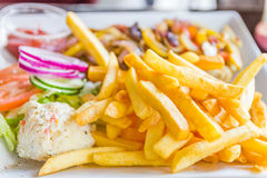 Plate full of French fries Royalty Free Stock Images