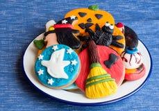 Plate full of hallooween homemade cookies with fondant Stock Photo