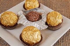 Plate full of hazelnut chocolate Stock Photo