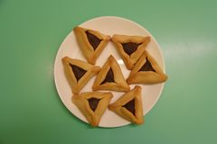 Real home made hamantaschen in purim royalty free stock photography