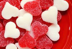 Plate full of red and white hearts for Valentine's Day Royalty Free Stock Image