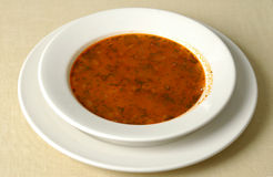 Plate full of soup. Plate with Russian soup -borshch Royalty Free Stock Photography