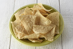 Plate full of tortilla chips Stock Images