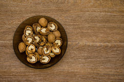 Plate full of walnuts Royalty Free Stock Photo