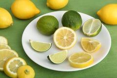 Plate fyllde med skivor av citroner och limefrukter Royaltyfri Fotografi