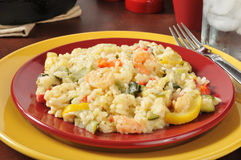 Plate of garlic shrimp risotto Royalty Free Stock Photos