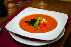 Plate of gaspacho soup in restaurant Stock Image