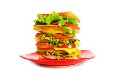 Plate with giant sandwich Royalty Free Stock Images