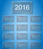 Plate glass calendar 2016 for web. And other vector illustration