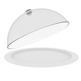 Plate with glass cover. A plate with glass cover. Isolated render on a white background Royalty Free Stock Photography