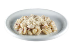 Plate gnocchi carbonara Stock Images
