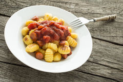 Plate of Gnocchi with fork Royalty Free Stock Images