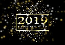 Plate with a gold frame, with metal numerals. 2019 new year. Brilliant snowflakes, glare, flashing lights. Blur effect, focus. 10 eps royalty free illustration