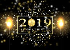 Plate with a gold frame, with metal numerals. 2019 new year. Brilliant snowflakes, glare, flashing lights. Blur effect, focus. Sparkler, bengal fire. 10 eps royalty free illustration