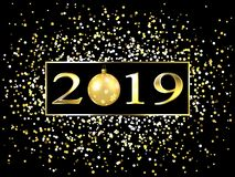 Plate with a gold frame, with metal numerals. 2019 new year. Brilliant snowflakes, glare, flashing lights, a toy ball. 10 eps stock illustration