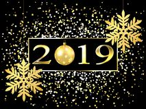 Plate with a gold frame, with metal numerals. 2019 new year. Brilliant snowflakes on the thread, highlights, flashing lights. A toy ball. For design. 10 eps royalty free illustration