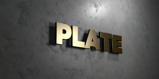 Plate - Gold sign mounted on glossy marble wall  - 3D rendered royalty free stock illustration. This image can be used for an online website banner ad or a Royalty Free Stock Photos