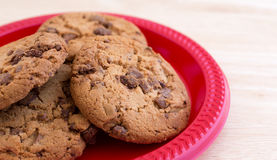 Plate of gourmet milk chocolate chip cookies Stock Image