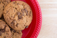 Plate of gourmet milk chocolate chip cookies Stock Photography
