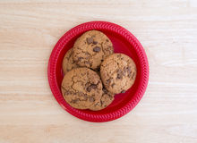 Plate of gourmet milk chocolate chip cookies top view Stock Photos