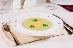 Plate of gourmet vegetable soup Royalty Free Stock Image