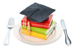 Plate with graduation cap and books. 3D rendering. Isolated on white background Royalty Free Stock Image