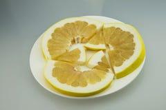 Plate, grapefruit, sliced Royalty Free Stock Photos
