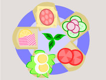 On a Plate. A great choice of sandwiches on a plate vector illustration