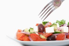 Plate of greek salad Stock Photo
