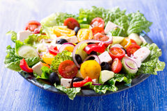 Plate of greek salad Stock Photos