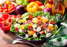 Plate of greek salad Royalty Free Stock Image