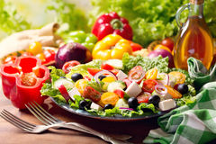 Plate of greek salad Royalty Free Stock Photos