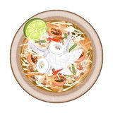 Plate of Green Papaya Salad with Cooked Squids Stock Image