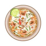Plate of Green Papaya Salad with Dried Shrimps Royalty Free Stock Photos