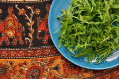 Plate with greens arugula Stock Photography