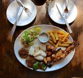 Plate of grill seafood in cafe  in India. Stock Photo