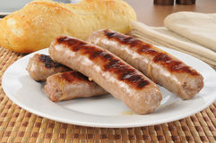 Plate of grilled brats Royalty Free Stock Photography