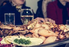 Plate of grilled food Royalty Free Stock Images
