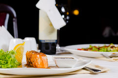 Plate of Grilled Salmon Drizzled with Sauce Royalty Free Stock Photo