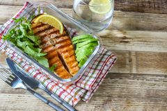 Plate of grilled salmon steak with vegetables Royalty Free Stock Photo