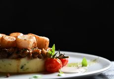 Plate with grilled scallops with butter lemon spicy sauce mashed potatoes and tomatoes stock photography