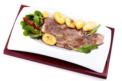 Plate With Grilled Steak And Potatoes Stock Photo