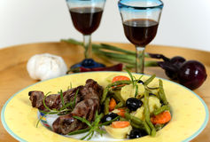 italian plate of grilled vegetables with lamb Royalty Free Stock Image