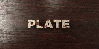 Plate - grungy wooden headline on Maple  - 3D rendered royalty free stock image Royalty Free Stock Photography