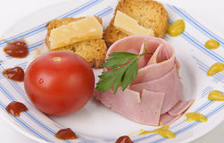 Plate of ham and cheese canapes Royalty Free Stock Photography